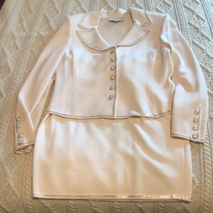 St John Evening by Marie Gray ivory knit suit 10
